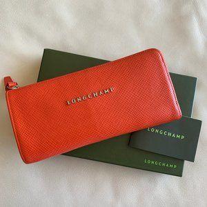 LONGCHAMP Quadri Embossed Leather Zip Wallet
